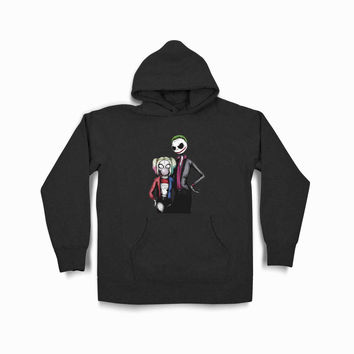 Jack Skellington And Sally Nightmare Before Christmas As Joker And Harley Quinn Tvk Black Hoodie