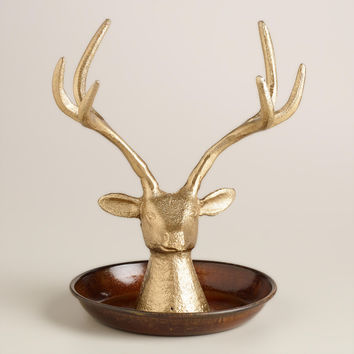 Antique Gold Stag Head Jewelry Stand - World Market