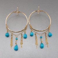 Exotic Bohemian Gold Dangle Hoops w. Sleeping Beauty Turquoise, Large Dangle Turquoise Hammered Gold Fill Hoop Earrings