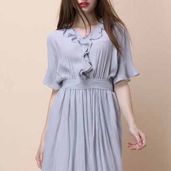 Frill the Day Crepe Dress in Lavender
