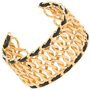 Chanel New Gold Chain Link Leather Trim Open Evening Bangle Bracelet Cuff in Box