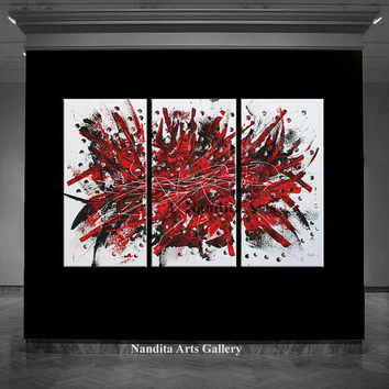 Red Abstract Painting Modern Fine Art, Extra Large Wall Art, Original Painting on Canvas Gift for Wife or Christmas Decor - Nandita Albright