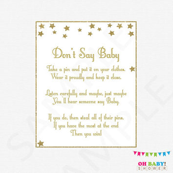 Gender Neutral Baby Shower, Don't Say Baby, Twinkle Twinkle Little Star Baby Shower, Printable, clothes pin game, gold, girl, boy, STGG