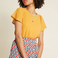 Pleasing Breeze Flutter Sleeve Top in Mustard