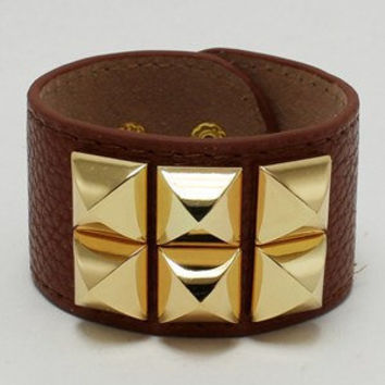 Brown Leatherette Gold Spike Bracelet  by 21mainstreet on Etsy