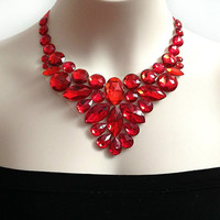red bib necklace. red rhinestone statement necklace, christmas, wedding, bridesmaids, prom necklace