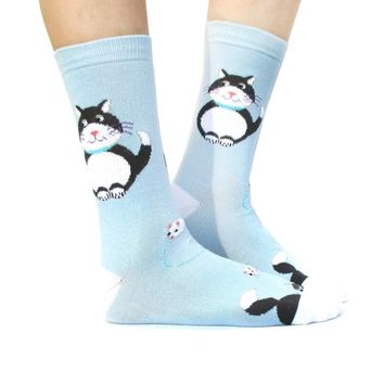 Chubby Kitty Cat and Mouse Novelty Print Long Socks for Women in Light Blue
