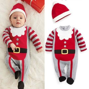MY First Christmas Oufits Baby Girl Boy Bodysuit+Striped Long Pant 2Pcs Baby Boy Girl Clothes
