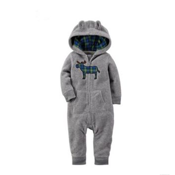 Romper Hooded SleepwearBaby Boy Clothes Baby Rompers Fleece Newborn Clothing 2017 Autumn&Winter One Piece baby girl andboys clot
