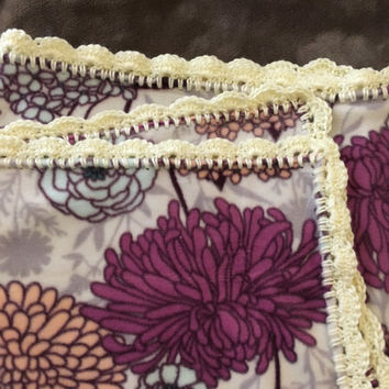 Medium - Purple & White Fleece Receiving Blanket with Crochet Edges