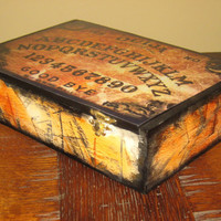 Box OUIJA DECOUPAGED spirit board antiqued cigar storage BOX keepsake gift custom orders only