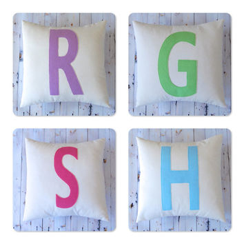 Letter Pillow Cover, Monogram Pillow Cover Alphabet Personalized Throw Pillow Nursery Decor Decorative Pillow Felt Block Letter Pillow
