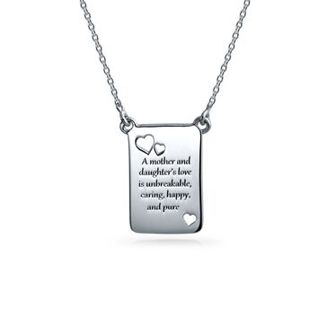 Mother Daughter Rectangular Heart Pendant Necklace Sterling Silver