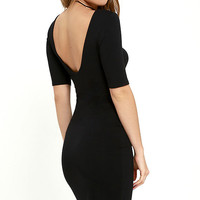 Beneath the Stars Black Bodycon Dress