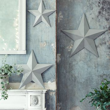 NEW Three Gesso Stars - Light Grey