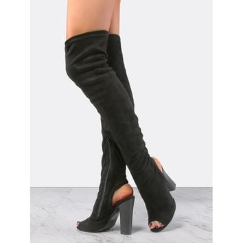 Stacked Chunky Heel Suede Boots BLACK