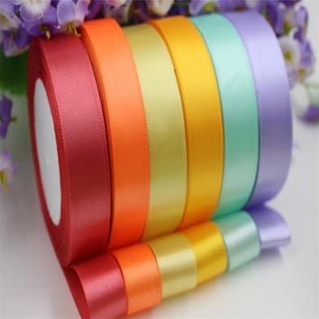 25mm 25 Yard Silk Satin Ribbon 22M Wedding Party Decoration Invitation Card Gift Wrapping Christmas Scrapbooking Supplies Riband