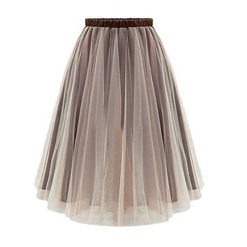 Summer Style Women Midi Skirts Long Tulle Skirt  Pleated Adult tutu Plus Size