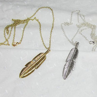 Long Feather Necklace Layering Gold or Silver Big Double Sided Feather Necklace Leaf Necklace