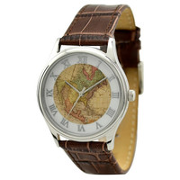 Vintage Map Watch (North America) in Silver