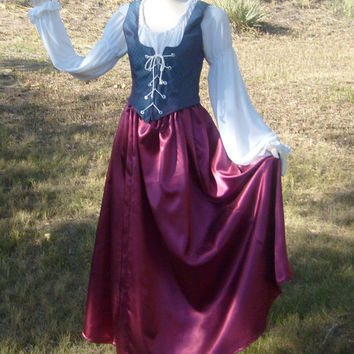 Burgundy Satin and Blue Hologram Renaissance Dress Halloween Costume