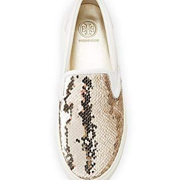 Tory Burch Carter Slip-on Sequined Skate Sneakers, Calf Leather, Spark Gold