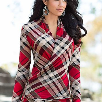 Plaid print surplice top