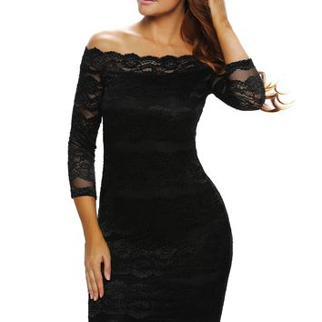 Black Lace Scalloped Off Shoulder Midi Dress