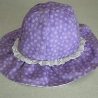 Purple Dots Baby Girl Hat, Handmade Reversible Girl Hat, Baby Sun Hat with Wide Brim