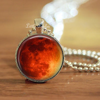 Orange red, moon necklace, full moon, blood moon, planet pendant, harvest moon, space keychain, galaxy key ring, for him, halloween gift