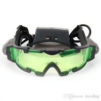 Portable Sport Camping  Green Lens Adjustable Night Vision Goggles Glasses Eyewear With Flip-out Light