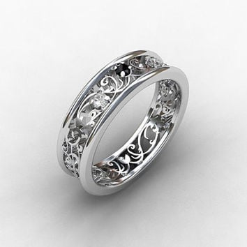 Black Diamond ring, white gold, wedding band, Diamond ring,  black diamond wedding, filigree ring, unique, vintage style, diamond