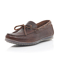 River Island MensBrown leather translucent sole driving shoes