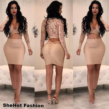 Women Sexy Two Piece Long Sleeve Lace V-Neck Crop Top Skirt Set