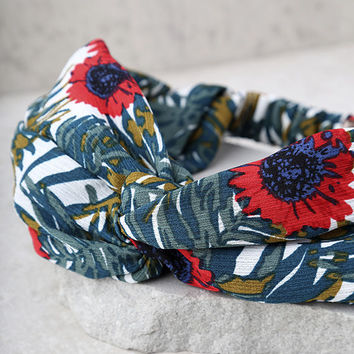 Soul and Inspiration Red and Green Floral Print Headband