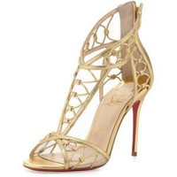 Christian Louboutin MARTHA Gold Leather Cutout Sandals Heels Pumps Shoes $1495