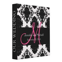 Wedding Monograms Damask Pink Planner Binders from Zazzle.com