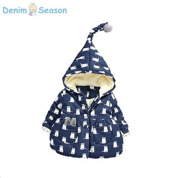 Denim Season Baby Girls Coat Winter Warm Cotton Thick Printed Jackets Hooded Outerwear Children Clothing For Christmas Snowsuit