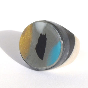 Resin Ring, Polymer Clay Ring, Abstract Art Ring, Gold, Aqua, Black, Gold, Gray, White, 2015 Ring Trends, The Maddie Ring, ResinHeavenUSA
