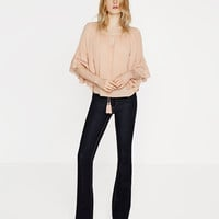 BLOUSE WITH GATHERED NECKLINE - View All-TOPS-WOMAN | ZARA United States