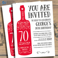 70th Birthday Invitation, 70th Birthday, Birthday Invite, 70 Birthday, Digital, Milestone, Printable, DIY, Invite, Template, Birthday Party