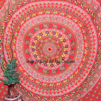 Indian Tapestry Red Mandala Cotton Bed Sheet Ethnic Decor Art Throw Hippie Printed Twin Bedspread