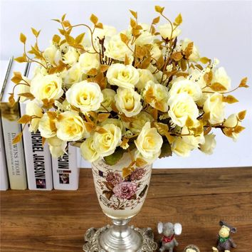 "One Bouquet 7 forks 14 head (30cm, 11.8"") Roses Silk Artificial Flowers"