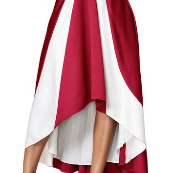 Chicloth Contrast White Insert Hi-low Maxi Skirt Burgundy