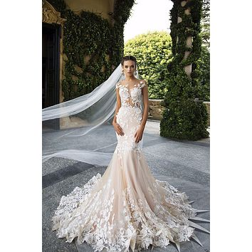 C.V Real Photo Destido De Noiva Sexy Backless Flower Wedding Dress Champagne Color Fish Tail Long Mermaid Wedding dress 2017