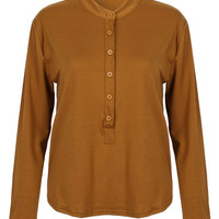 Brown Long Sleeve Buttoned Blouse