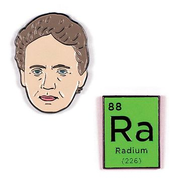Marie Curie and Radium Enamel Pins