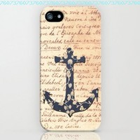 TIP5-041 Vintage Floral Anchor on Dictionary Page, Iphone 5 Case, Hard Plastic