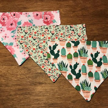 Floral Dog Bandana/ Cactus Dog Bandana/ Over the Collar Bandana/ Dog Bandana