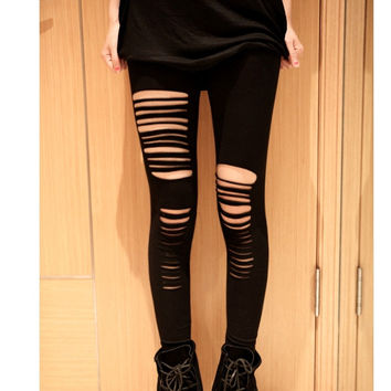 New Fashion New Sexy Ripped Torn Slashed Leggings Punk Low Rise